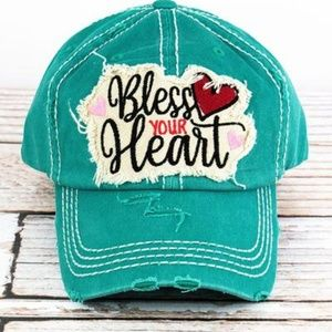 ✌NWT DISTRESSED TURQUOISE 'BLESS YOUR HEART' CAP